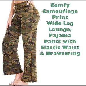 New Comfy Camo Print Wide Leg Lounge PJ Pants